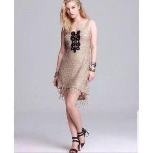 Free People Gold Sequins Fringe Dress